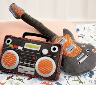 2. Boombox and Guitar Pillows