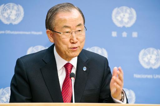 Le secrétaire général de l'Onu, Ban Ki-moon, le 6 décembre 2013 à New York après l'annonce du décès de Nelson Mandela