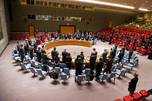 Les membres du Conseil de sécurité de l'Onu observent une minute de silence après l'annonce du décès de Nelson Mandela, le 5 décembre 2013 à New York