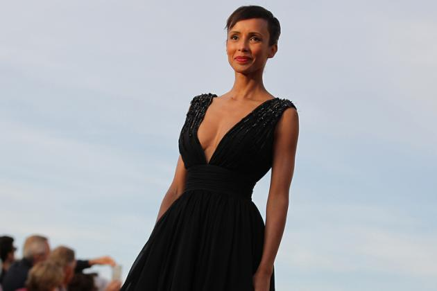 French actress and former Miss France Sonia Rolland poses on the red carpet on June 13, 2015 during the Cabourg Romantic Film Festival in Cabourg, northwestern France. AFP PHOTO/CHARLY TRIBALLEAU / AFP / CHARLY TRIBALLEAU